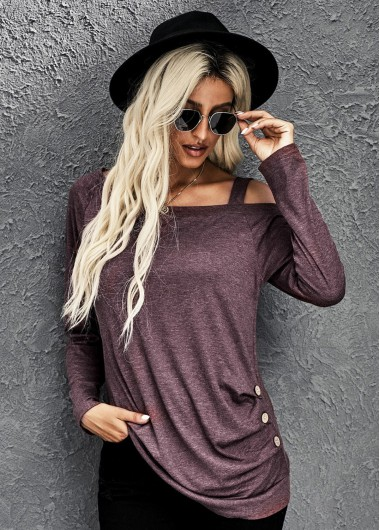 Strappy Cold Shoulder Ruched Long Sleeve T Shirt - M