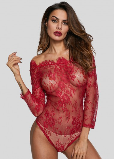 Red Lace Three Quarter Sleeve Bodysuit - L