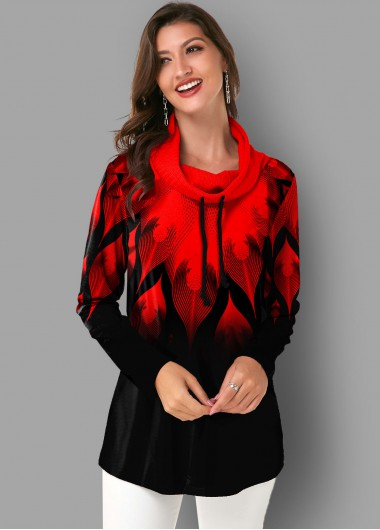 Ombre Printed Drawstring Neck Long Sleeve Tunic Top - L