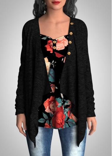 Faux Two Piece Floral Print Button Tunic Top - L