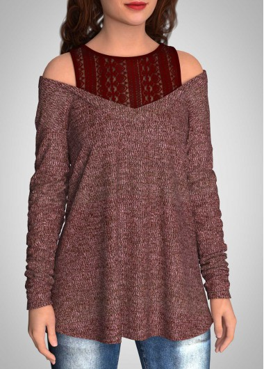 Cold Shoulder Lace Stitching Long Sleeve Tunic Top - L