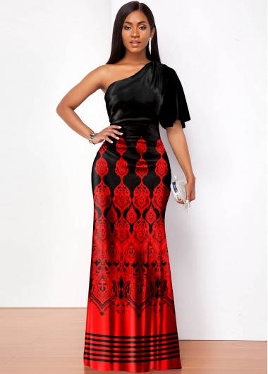 Tribal Print One Shoulder Butterfly Sleeve Maxi Dress - L
