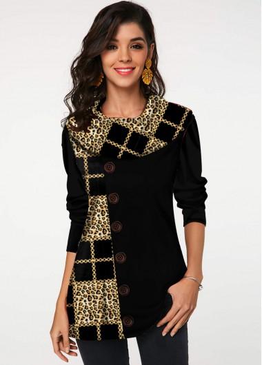 Leopard and Geometric Print Button Tunic Top - L