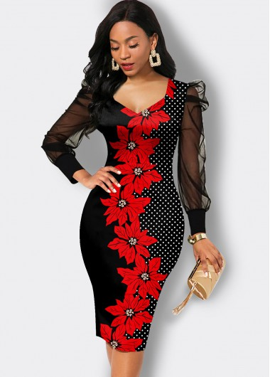 Floral Print Mesh Sleeve Sheath Dress - L