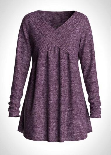 V Neck Long Sleeve Purple T Shirt - L