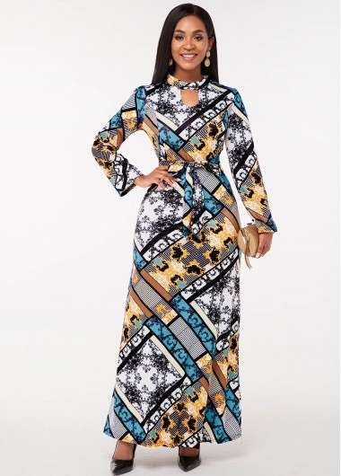 Tribal Print Keyhole Neckline Long Sleeve Dress - 2XL