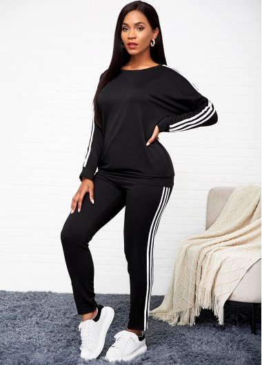 Striped Long Sleeve Black Top and Pants - 2XL