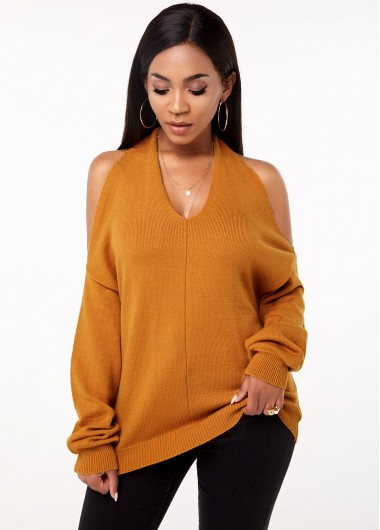 Long Sleeve Cold Shoulder Twist Back Sweater - L