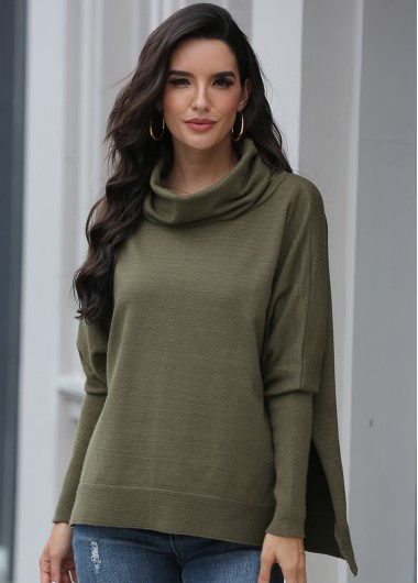 Turtleneck Blouson Sleeve Army Green Sweater - L