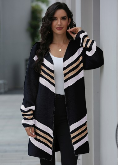 Striped Open Front Long Sleeve Cardigan - XL