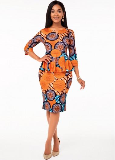 Tribal Print Split Neck Flounce Dress - L