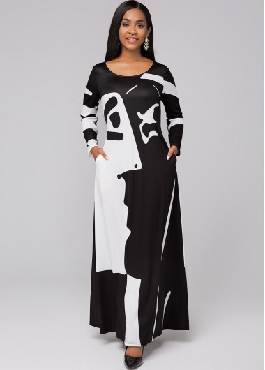 Graffiti Print Round Neck Pocket Maxi Dress - L
