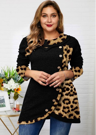 Plus Size Leopard Asymmetric Hem Button Tunic Top - 1X
