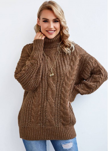 Turtleneck Twisted Pattern Long Sleeve Sweater - L