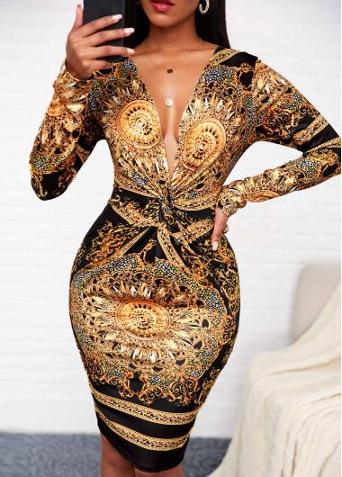 Deep V Neck Tribal Print Long Sleeve Dress - L