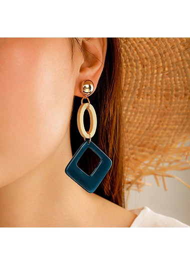Color Block Square Shape Acrylic Earring Set - One Size