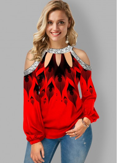 Cold Shoulder Ombre Printed Cutout Neck T Shirt - L