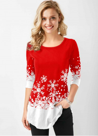 Snowflake Print Round Neck Long Sleeve T Shirt - L