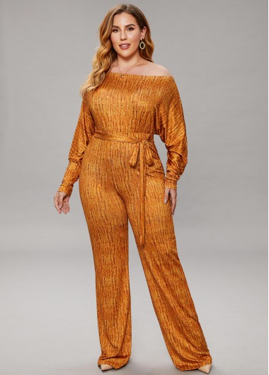 Plus Size Belted Off Shoulder Top and Pants - 2XL