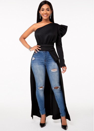 One Shoulder Long Sleeve High Low Hem T Shirt - 2XL