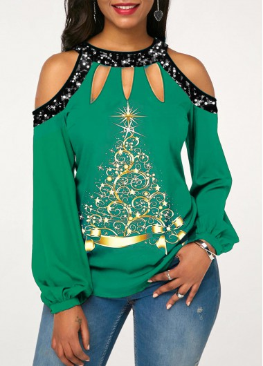 Christmas Tree Print Sequin Cold Shoulder T Shirt - L