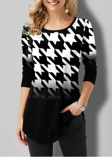 Houndstooth Print Round Neck Ombre T Shirt - L