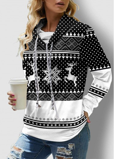 Christmas Print Drawstring Neck Long Sleeve Sweatshirt - L