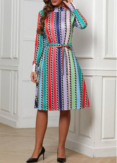 Belted Rainbow Color Chain Print Dress - M