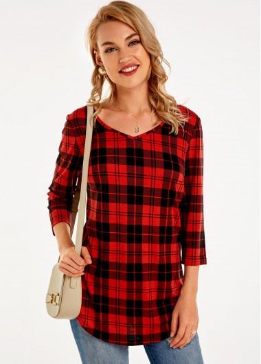 Plaid V Neck 3/4 Sleeve T Shirt - L