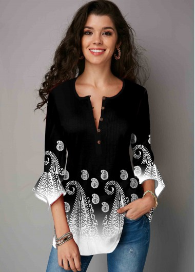 Crinkle Chest Hanky Cuff Paisley Print Blouse - L