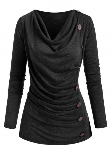 Button Detail Cowl Neck Ruched T Shirt - L
