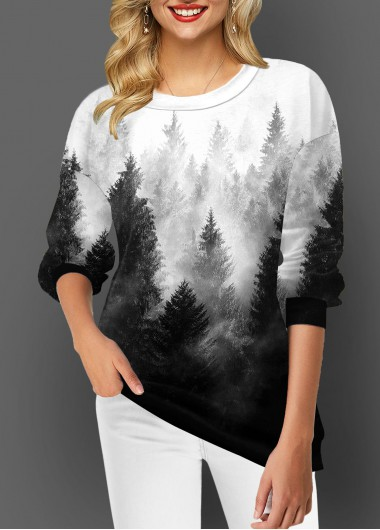 Ombre Forest Print Elasticated Cuffs Long Round Neck Thickened Sleeve Shirt - L