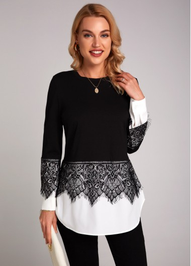 Contrast Lace Stitching Long Sleeve T Shirt - L