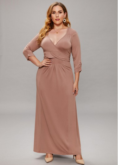 Plus Size V Neck 3/4 Sleeve Maxi Dress - 2XL
