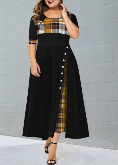 Plus Size Plaid Contrast Maxi Dress - 1X