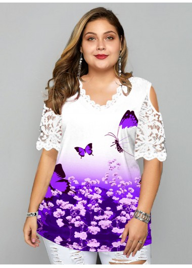 Plus Size Casual Half Sleeve Cold Shoulder Lace Stitching Butterfly Print T Shirt - 1X