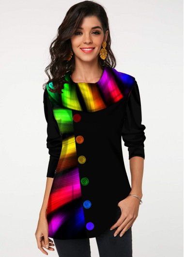 Rainbow Color Long Sleeve Round Neck Button Detail Cowl Neck Tunic Top - L