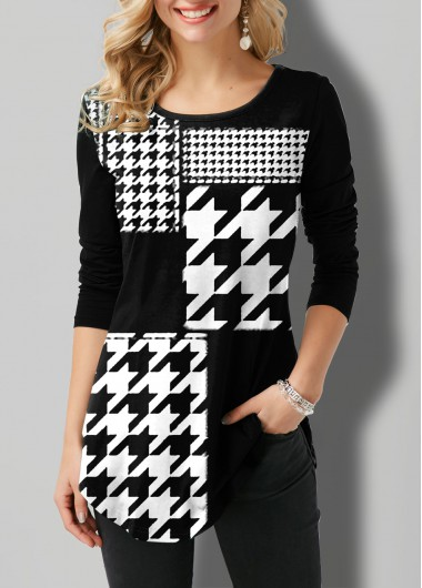 Houndstooth Print Round Neck Long Sleeve T Shirt - L