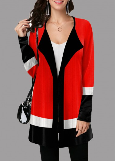 Contrast Open Front Long Sleeve Cardigan - L