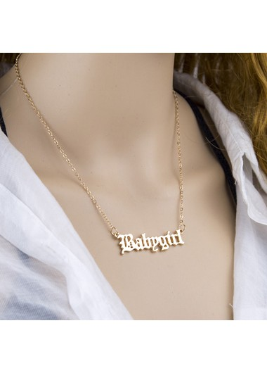 Letter Design Gold Metal Chain Necklace - One Size
