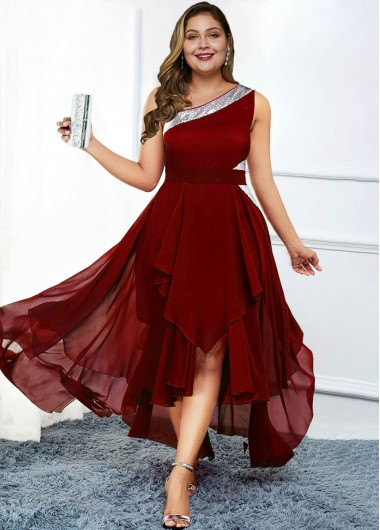 Plus Size Asymmetric Hem One Shoulder Dress - 1X