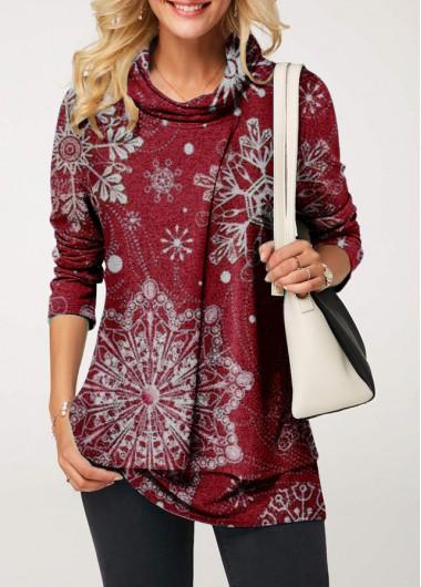Cowl Neck Snowflake Print Faux Two Piece Sweatshirt - L