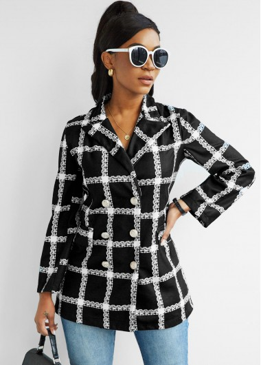Plaid Button Up Double Breasted Coat - 2XL