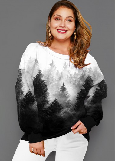 Plus Size Long Sleeve Ombre Forest Print T Shirt - 1X
