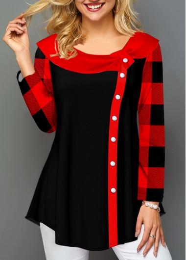 Plaid Long Sleeve Detail Button Contrast Shirt - L
