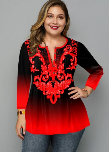 Plus Size Ombre Printed Button Blouse - 1X