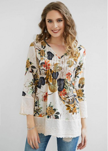 Crinkle Chest Tropical Print Button Blouse - 2XL