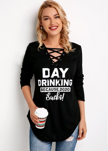 Lace Up Long Sleeve Letter Print T Shirt - 2XL