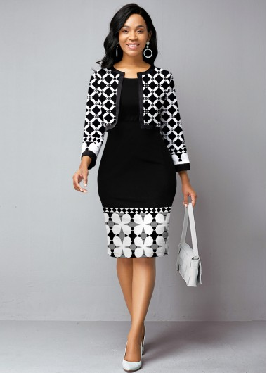 Tribal Print Open Front Cardigan and Sheath Dress - L