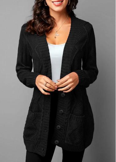 Pocket Detail Button Up Rib Knit Cardigan - L